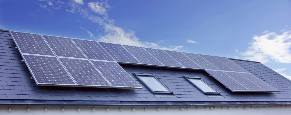 House rooftop solar panels